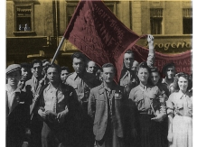 הפגנה של חברי צוקונפט, תנועת הנוער של הבונד, דז'ינז'ונייב, פולין, אחד במאי 1948